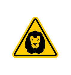 attention lion leo on yellow triangle road sign vector image