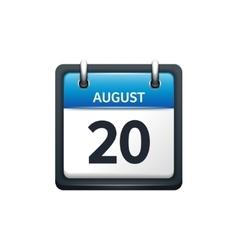 August 20 Calendar icon flat vector image