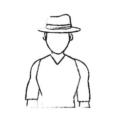 blurred silhouette half body faceless explorer man vector image