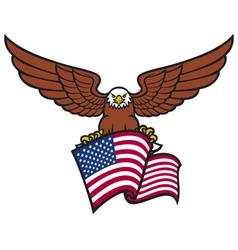 Eagle with usa flag vector