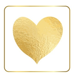 Gold heart hand draw foil 1 vector image vector image