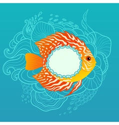 Sunny fish banner vector image