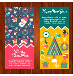 Banners Santa Presents Tree vector image vector image