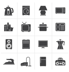 Black home equipment icons vector image vector image
