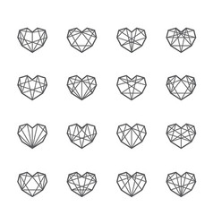 geometric polygon hearts vector image vector image