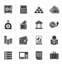 Black Bank and Finance Icons vector image vector image