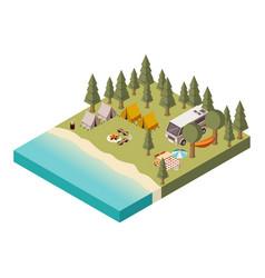 camp near lake isometric vector image