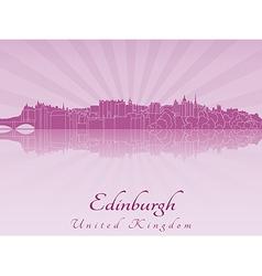 Edinburgh skyline in purple radiant orchid vector image vector image