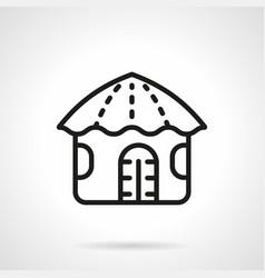 Hawaiian hut simple line icon vector