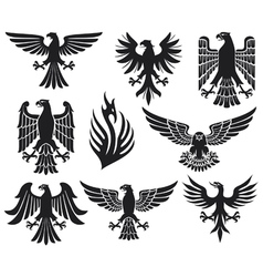 Heraldic eagle set vector image