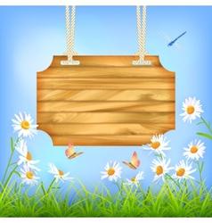 Sky Green Grass Flowers Wood Board vector image