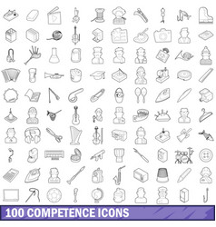 100 competence icons set outline style vector