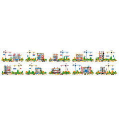 a set buildings under construction collection vector image