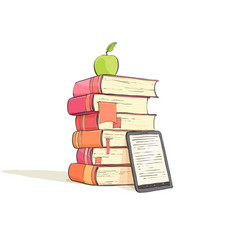 A stack of books on a white background vector