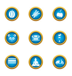 Asie icons set flat style vector