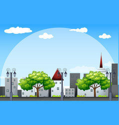background scene with building along the street vector image