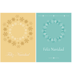 Beige and green christmas greeting cards vector