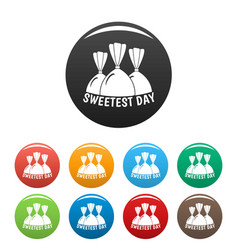 Bonbon sweet day icons set color vector