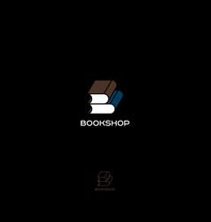 bookshop logo b monogram vector image