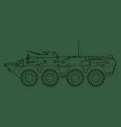 Btr-80 outline drawing armored personnel carrier vector