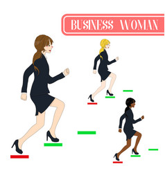 Business woman running to the top vector