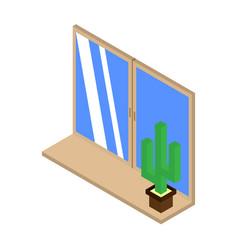 Cactus icon on the windowsill isometric vector