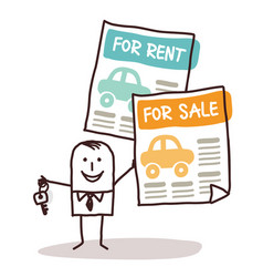 Cartoon businessman with key and cars for sale vector
