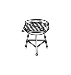 Charcoal grill hand drawn sketch icon vector
