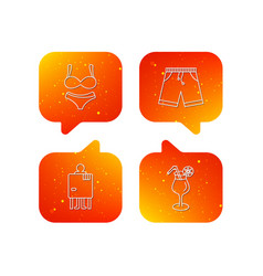 Cocktail lingerie and shorts icons vector