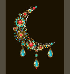crescent of ethnic ornaments vector image