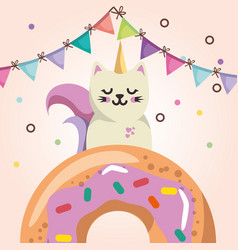 Cute cat with donut sweet kawaii character vector