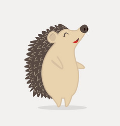 cute hedgehog standing animal cartoon vector image