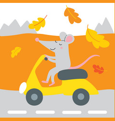 cute rat on scooter traveling vector image