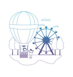 Degraded line funny air balloon entertainment vector