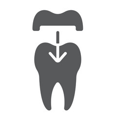 Dental crown glyph icon stomatology vector
