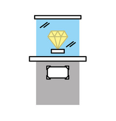 Diamond in museum icon vector