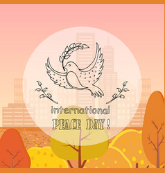 Dove peace with twig autumn vector