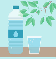 drinking water glass and bottle vector image