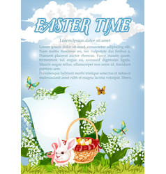 Easter paschal bunny and eggs basket poster vector