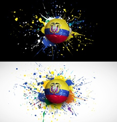ecuador flag with soccer ball dash on colorful vector image