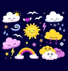 emotional sun and clouds stars rainbow on dark vector image