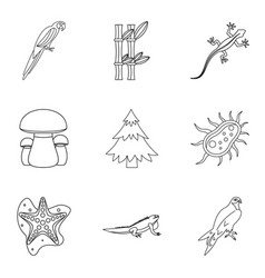 Enliven icons set outline style vector