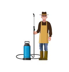 Farmer with sprayer vector