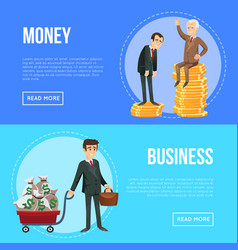 Finance investment flyers with businessmen vector