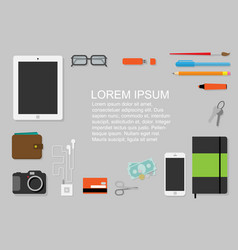 flat design flyer with every day accessories vector image