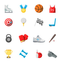 flat sport symbols in style vector image