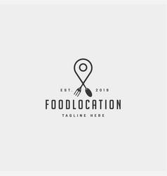 food pin navigation simple flat luxury logo vector image