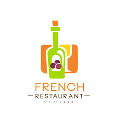 French restaurant logo design authentic vector