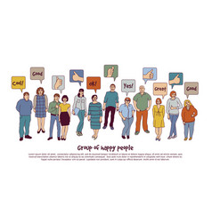 Group happy people and sign like isolate on white vector