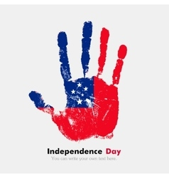 Handprint with the Flag of Samoa in grunge style vector